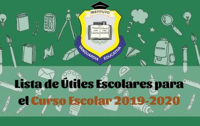LISTA DE LIBROS Y ÚTILES ESCOLARES PARA EL CURSO ESCOLAR 2019-2020